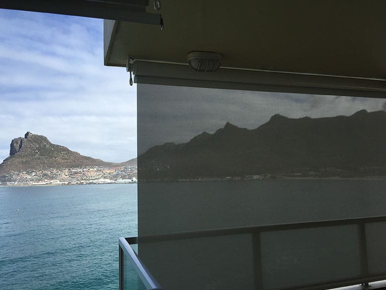 outdoor shear-weave roller blinds for sun control